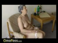 Very old Chubby Granma has sex with household goods
