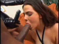 Black stud fucks with two brunette skanks in anal threesome