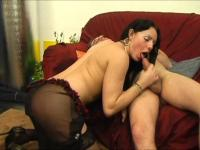 Tranny with nice round ass shoves her cock down guys throat