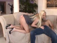 Dick sprays jizz on blonde milf titties