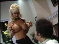 Blonde with huge tits gets pounded hardcore on hunk's office desk