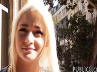 Blonde Czech girl screwed in the woods in exchange for cash