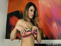 Huge boobies tranny Paulinha Lima anal nailed on the bed