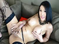 Asian TS beauty Fanta masturbates her hard dick to orgasm