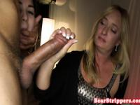 Pierced amateur sucking at cfnm party