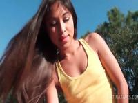 Teenage latina sex siren riding horny dick outdoor