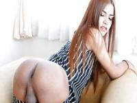Thai ladyboy Ballon twerks and jerks off her dick until she cums