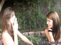 Stepsibs have lesbian sex