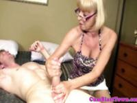 Cum loving granny in spex blasted with cum
