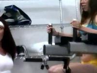 Hazed coed teens workout