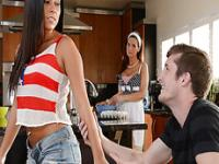 Sexy Gina turns baking lessions into a hot threesome at the kitchen
