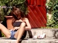 brunette and outdoor strip pussy