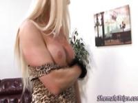 Mature blonde tgirl fucks