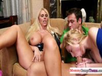Bigass milfs threeway fun with teen couple