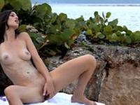 Sand inside of her sticky cunt
