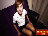 Tattooed petite thai ladyboy models her butt