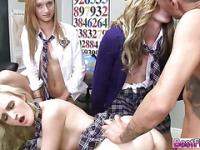 Lovely Students on a girl hard sex education action