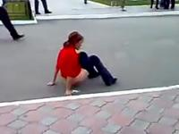 Drunk Russian Lady Peeing In Streets