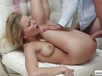 Cutie blonde Staci gets eager pussy fuck from behind on the couch