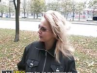 Blonde sexy outdoor fuck for good sum of money