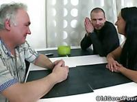 What starts as an innocent visit soon turns out to be a threesome fuck fest