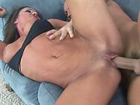 Busty brunette housewife Sky Taylor is getting her mature pussy pounded with a stiff cock