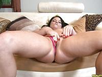 Casey plays with her hairy pussy.
