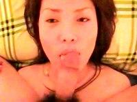 Sexy Asian gf gets cum on her face