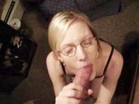 Freaky blonde GF sucks duck bigtime