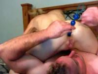 Gf deepthroat & anal beads on webcam