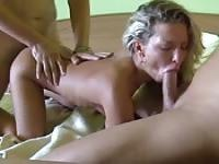 Threesome with horny blonde