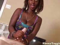 Homemade pov tugging with an ebony girlfriend