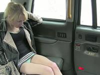 A naughty blonde slut gets fucked hard in the cab