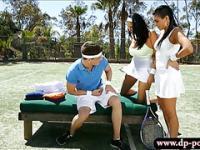 Two tennis players fucked in open fields