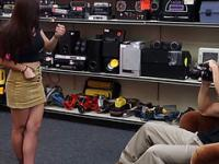 Busty Brunette College teen gets fucked hard by the pawnshop owner