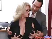 Blonde big tits secretary MILF seduced by her boss