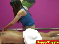 Real asian masseuse caught on spycam tugging