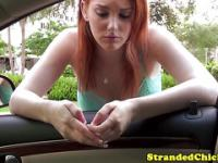 Beautiful stranded redhead with huge tits