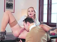 Blonde Kathia Nobili banged hard by coworker in the office