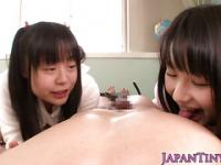 Cocksucking japanese babes in trio sharing dick