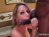 Slut deep throats and tits fucks huge cock