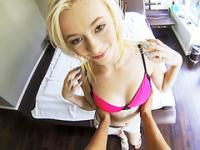 Blonde alluring lady Maddy Rose hitch and gets screwed by a stranger