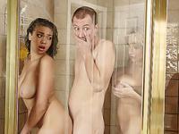 Sweet Alyssa joins Cassidys hot romantic shower sex