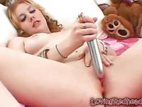 Redhead Dildoing Hairy Clit