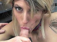 Horny MILF Lavender Rayne is swallowing a stiff cock