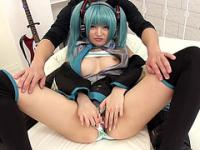 Cosplay babe Kiritanis creampie sex on her application sex interview