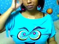 Huge Tits Latina Girlfriend Teasing Webcam