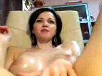 Oiled Brunette Big Fake Tits Tone Body Webcam