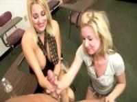 Horny blonde girls doing the handjob for him