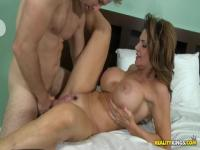 Lovely mature brunette Deauxma with huge tits fucking good